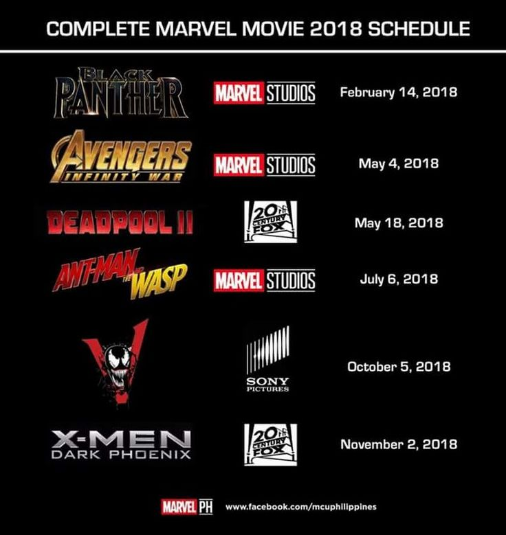 Marvel 2018 movie schedule