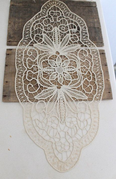 vintage point lace doily large oval lace doily by Harmonicajane