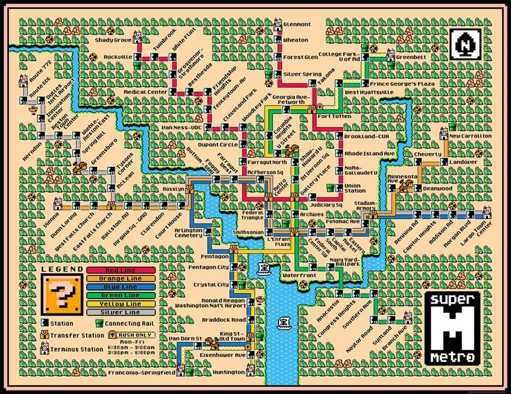 Washington Metro Map Super Mario by Dave Delishle