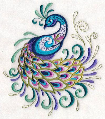 Embroidered Peacock Towel - Fanciful Peacock - Embroidered Flour Sack Towel - Hand Towel - Embroidered Bath Towel - Apron - Fingertip Towel by misty1718 on Etsy