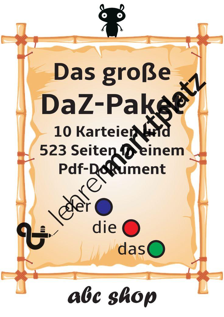 Sie erhaltenein Pdf-Dokument mit 523 Seiten Umfang.Kartei 1: Das Der-Die-Das-Hefthttps://lehrermarktplatz.de/material/5495/daz-das-der-die-das-heft?utm_internalpath=apKartei 2: Satz-Bild Zuordnung erlesenhttps://lehrermarktplatz.de/material/17261/daz-anfangsunterricht-satz-bild-zuordnungen-erlesen-leseverstaendnis-trainieren-ich-sehe-was-was-du-nicht-siehst?utm_internalpath=spKartei 3: Wort-Bild Blätterhttps://lehrermarkt...