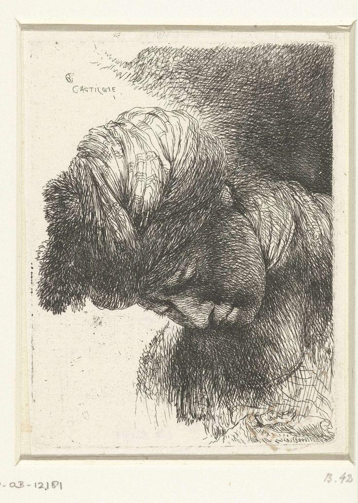 Giovanni Benedetto Castiglione | Hoofd van een jonge man met tulband, Giovanni…