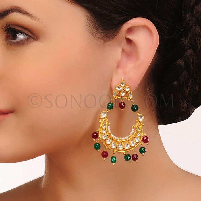 EAR/1/3423 Earrings in gold finish studded with kundan and agate droplets 	 $88	 £52