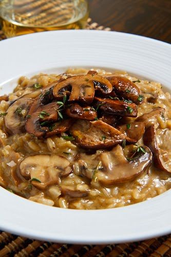 Mushroom Risotto.... I found the amount of chicken broth wasn't enough... Ended up using 3/4 of a cup rice and 3 cups of warmed chicken broth! Also only used the dried mushrooms to flavour the liquid as I felt they didn't rehydrate enough for my liking!