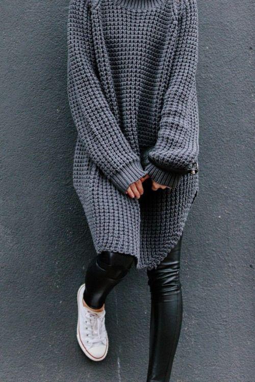 glamblack:  Sweater >>  PU pant >>