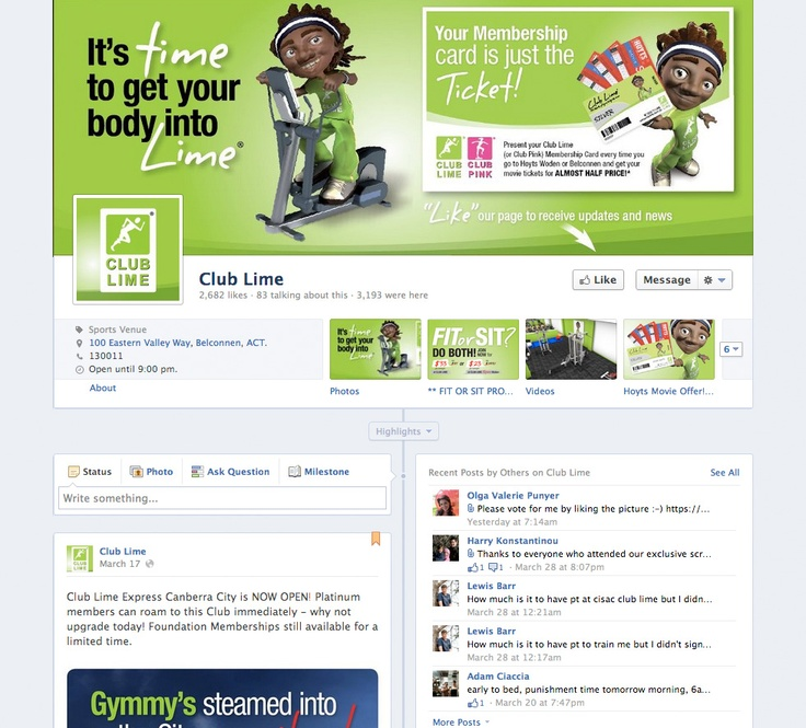 2B Advertising & Design - Club Lime Facebook Page