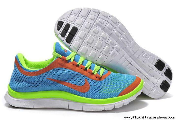 Womens Blue Orange Green Running Shoes Nike Free 3.0 V5 For Sale