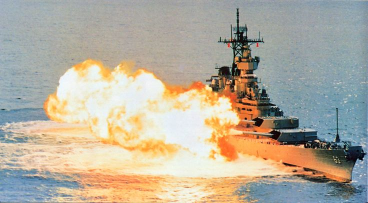 Image result for uss iowa firing broadside