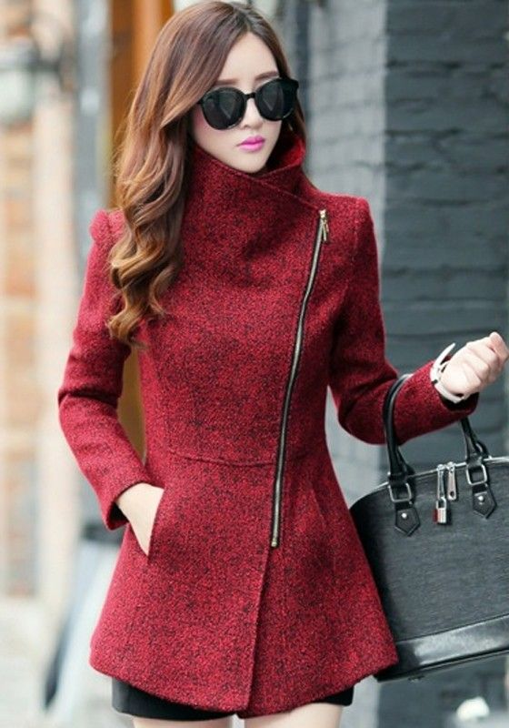 Red Plain Pockets Tweed Coat - Outerwears - Tops