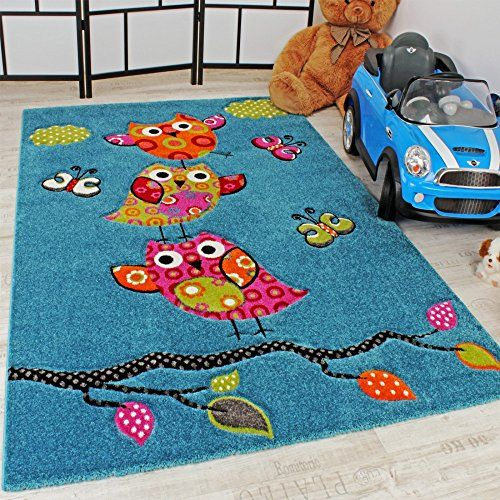 Kids Carpet Cute Owls Modern Children Rug In Blue Turquoise Orange Cream  Green, Size: