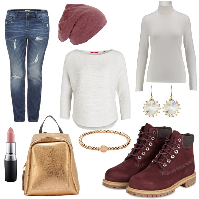 OneOutfitPerDay 2017-02-06 - #ootd #outfit #fashion #oneoutfitperday #fashionblogger #fashionbloggerde #frauenoutfit #herbstoutfit - Frauen Outfit Frühlings Outfit Outfit des Tages Armband Boot denim Gold GUM by Gianni Chiarini J.Crew Jeans Jersey Liebeskind Liebeskind Berlin Lippenstift MAC Masterdis Mütze Ohrringe Pullover Rucksack S.Marlon s.Oliver s.Oliver Casual Schnürboots Timberland Triangle Triangle by s.Oliver
