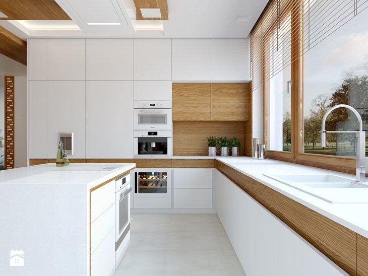 KWIRYNÓW - Duża otwarta kuchnia w kształcie litery u z wyspą, styl nowoczesny - zdjęcie od TutajConcept