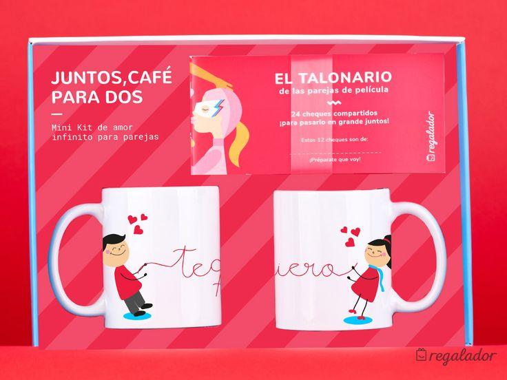 """Mini kit de amor infinito para parejas. - Versión """"Juntos, Café para dos""""  Incluye: 2 tazas """"Te quiero"""" y 1 talonario para parejas de película."""