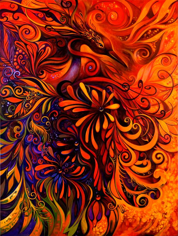 Phoenix - by Laura Zollar.  This is incredibly beautiful.  I would LOVE to have this on one of my walls at home.  It's STUNNING.