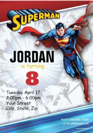 The amazing Superman invitation is just of the fun ideas features on this party page.  This invite can be customized with all of your child's party details.