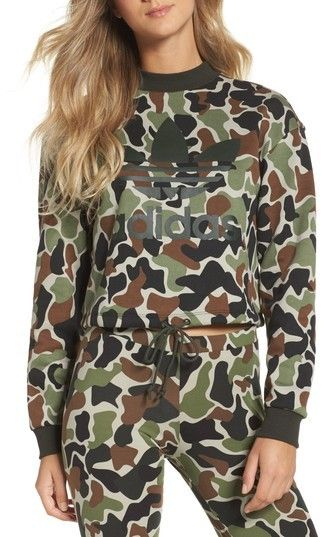 Falling in love with Camo Lately! this will for sure be my next purchase!! Women's Adidas Camo Print Drawstring Crop Sweatshirt <3 #affliate