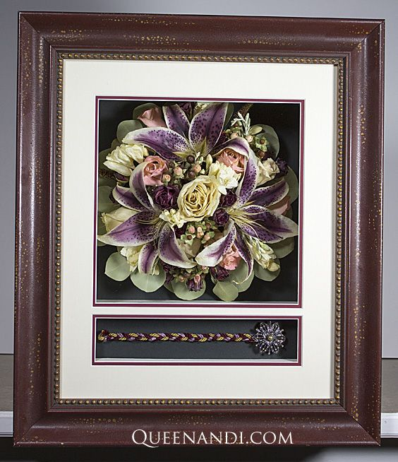 Transform your wedding flowers into a lasting work of art! The Frankenfield Wedding shadowbox showcases @larsonjuhl frame - Isabella Red, @nbframing mat - Grecian White (First Foreground), Sherry Alp (Second Foreground) and Rain Forest Green (Background) . #queenandi #floralpreservation #weddingflowers