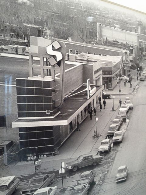 "From ""Ville St-Laurent"" archives, Steinberg's store on Decarie boulevard, St-Laurent (Montreal) in 1965. Store opened in 1951, but closed in mid-70s to become an independent supermarket named ""4 Bros"". Closed in the 90s and was gutted and expanded to parking area to become office space..."