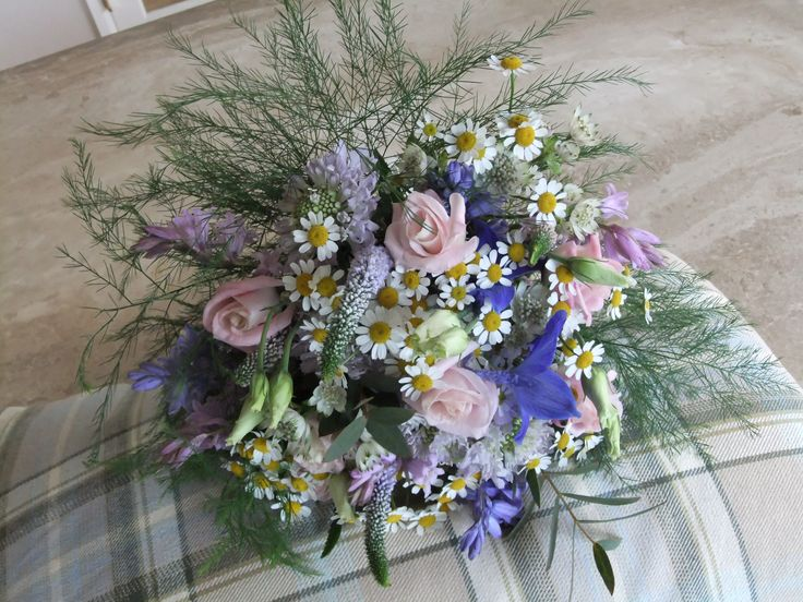 Flower girl bouquet of country garden flowers