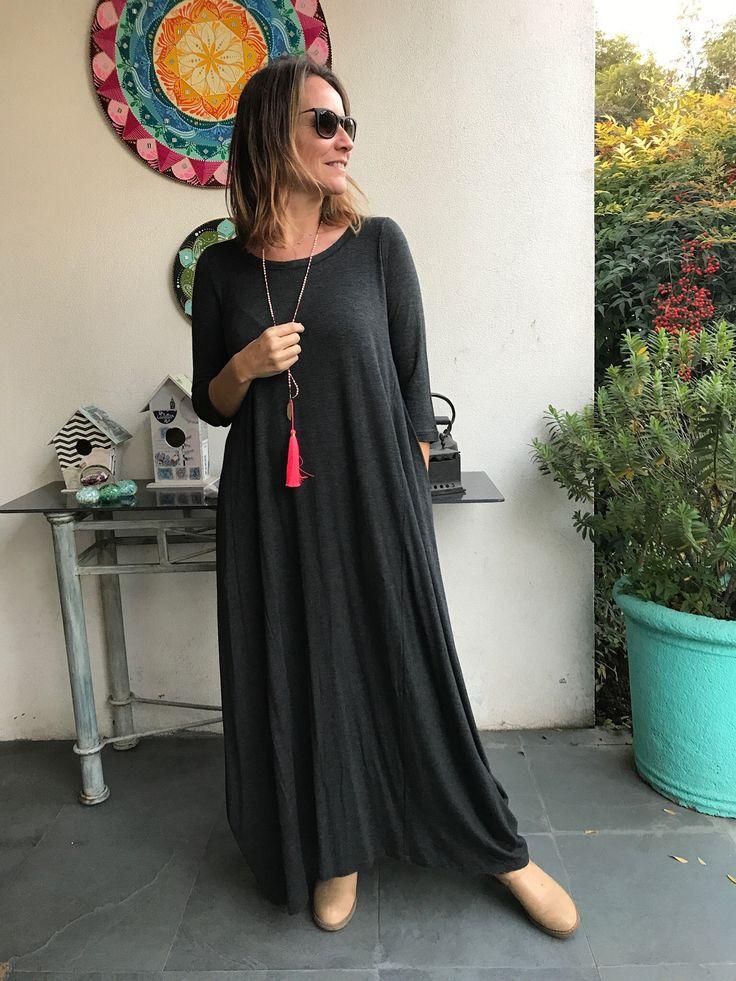 Vestido largo de Algodón Gris Marengo