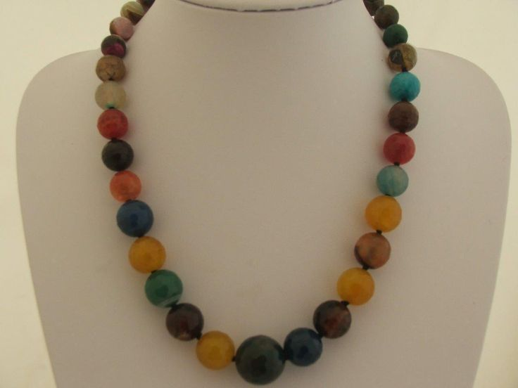 """22"""" Graduated Multicoloured Faceted Agate Necklace Sterling Silver Hook Clasp 