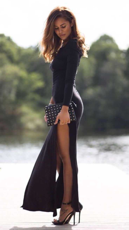 Maxi Dress with deep slide slit