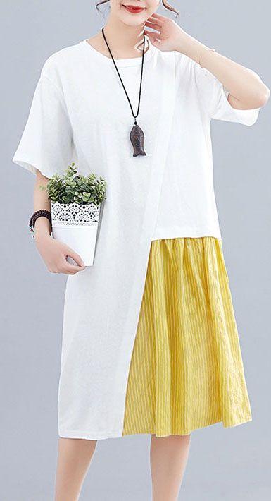 Women patchwork o neck linen dresses Sewing white Dresses summer