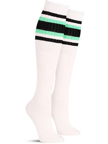 $10 white with black and green stripes cool tube socks