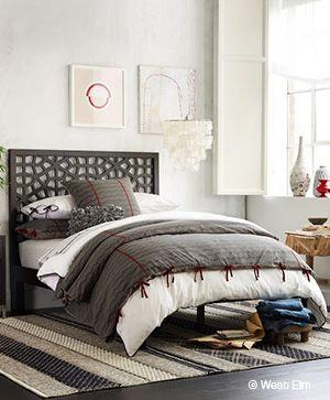 Quatre styles pour une tête de lit | CHEZ SOI © West Elm #deco #chambre #tetedelit #lit #nature #champetre #bois