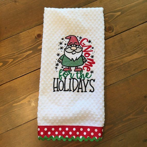 Funny Christmas Kitchen Towel Dish Towel Tea Towel Embroidered