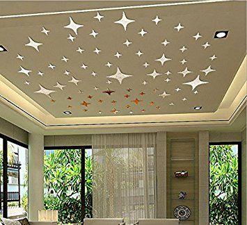"""Stars Decor LifeUp- Adesivi Murali da Soffitto Pavimento Vetro """" 43 Stelle Argento Tono 3D Specchio Effetto """" Soggiorno Camera da Letto Sticker Decorazione da Parete, FAI DA TE!"""