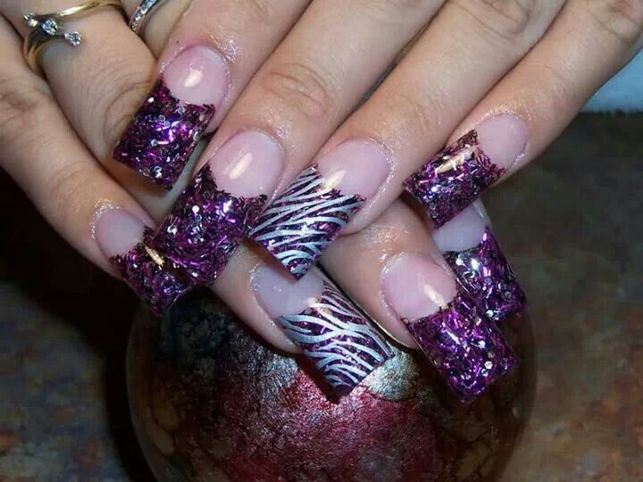 Nail designs purple and silver top purple nails are punchy and view images cute purple silver zebra glitter nail design nails prinsesfo Gallery