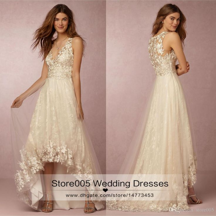 2016 Vintage High Low Wedding Dresses Lace V Neck A Line Beach Bridal Gowns Short Front Long Back Bohemian Imported China Z333