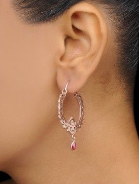 Ruby Gold-plated Brass Earrings with Matte Finish
