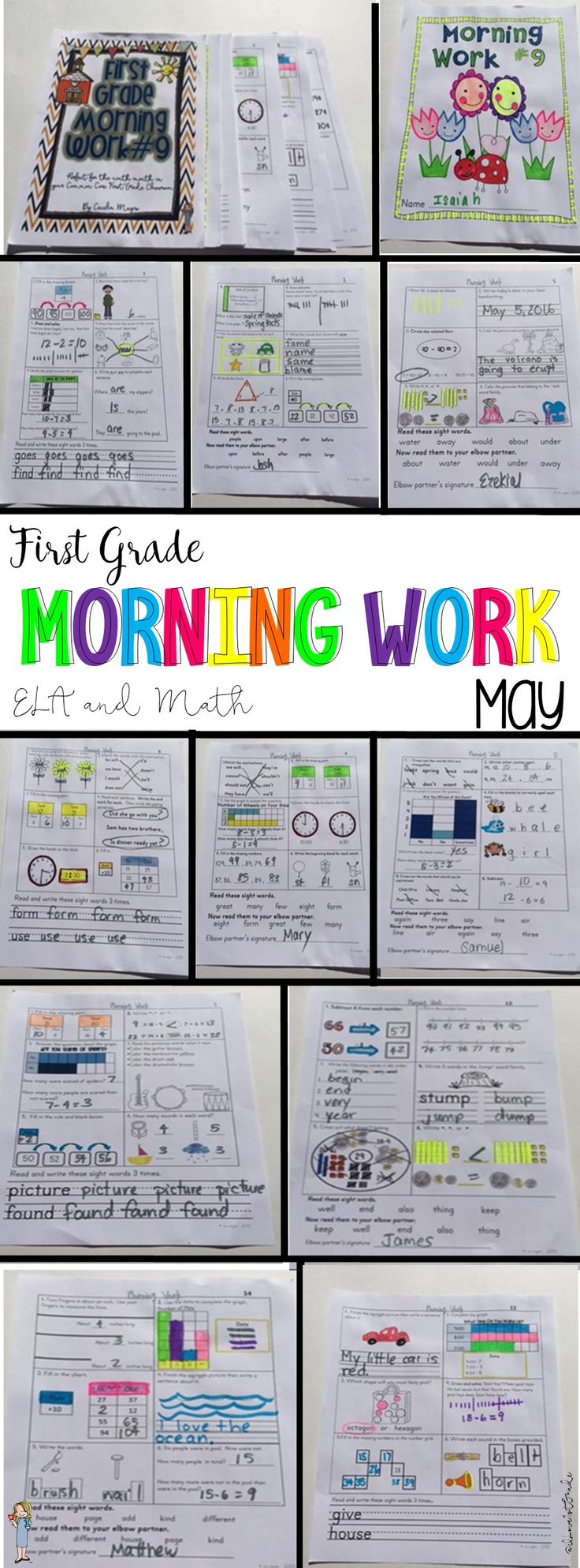Rigorous, engaging, spiraling first grade morning work.  In Math, this product addresses Common Core Standards 1. O.A.,1. N.B.T, I.M.D. and 1.G. For the language arts Common Core ELA Standards, this month's morning work addresses 1R. F. S. 1, 1R. F. S. 3, 1R. F. S. 4 and 1 W.