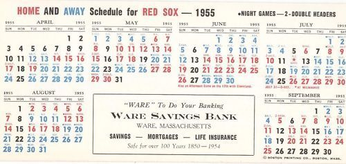 1955 Boston Red Sox Schedule Blotter Harry Agganis Nr Mt #TicketStubs