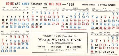 1955 Boston Red Sox Schedule Blotter Harry Agganis Nr Mt #TicketStubs