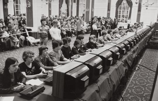 Национальный чемпионат по видеоигре Космические оккупанты организованный фирмой Atari. США. 1980г.