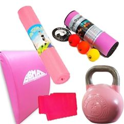 pretty in pink bundle for the special lady in your life (even if that means yourself)!  The Fitness Town Pink Bundle comes with:     Competition 8kg Kettlebell, TPE Yoga Mat     Travel Roller 4.3 Kit , Ab Mat , Sissel Fit Band.