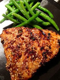Asian Sesame Grilled Tuna Steak ~ Sunny approved!  This was quick and easy.  I would go 4 minutes a side on the cooking time next go round.  Served with coconut rice and Asian mixed veggies, but it would be great with some seared green beans and teriyaki noodles as well!