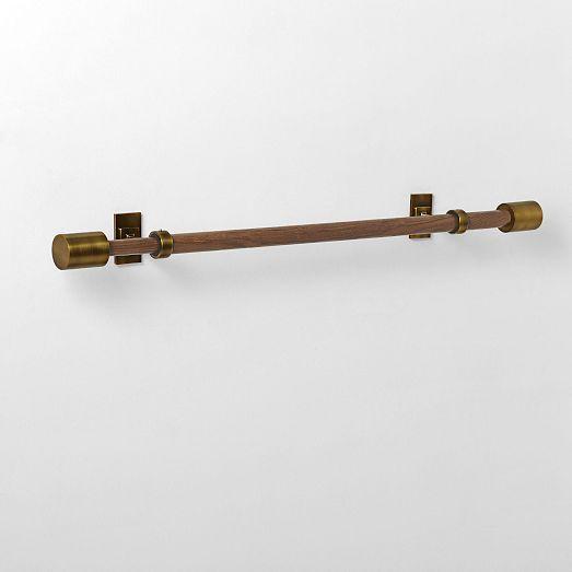 Mid-Century Brass & Wood Rod