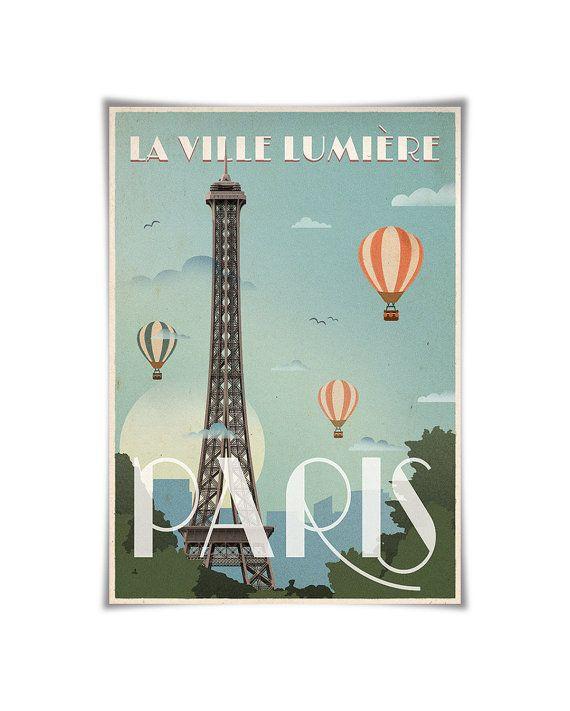 Paris Print Retro Poster Paris Poster Eiffel Tower Print