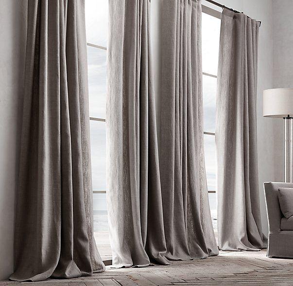 Come scegliere la lunghezza di una tenda: tenda a strascico, lino pesante, drappeggio chic | Una Casa Così