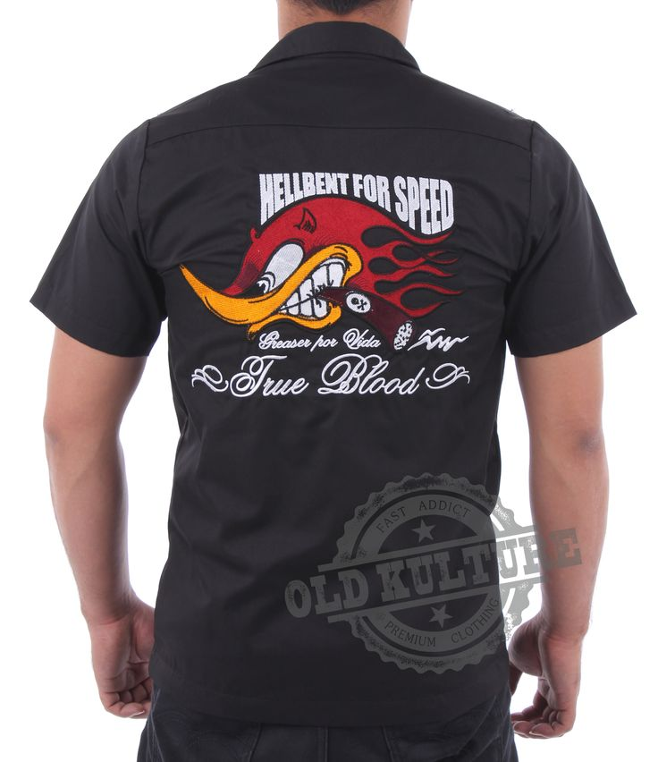 Billy eight embroidery work shirt hot rod and cafe for Embroidered work shirts online
