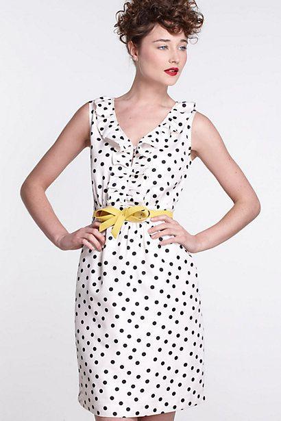 Polka-Dotted Dress - Anthropologie.com: Bows Belts, Polka Dots Dresses, 50 Style, Cute Dresses, Shower Dresses, Events Dresses, Anthropologie Com, Yellow Belts, Leather Belts