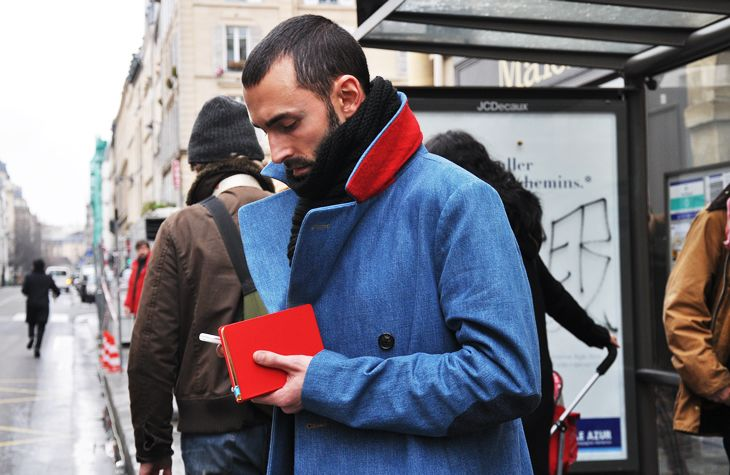 blue, red, coat, planner