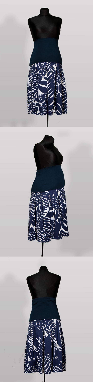 SK003 – Sukně Modré květy Těhotenská sukně z bavlněné látky s pružným pásem Ideální do práce Pružný pás pro zvětšující se bříško Pás je možné nosit přes bříško nebo ohnutý Sukni je možné nosit i po těhotenství