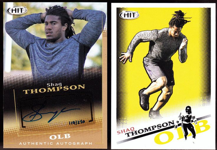 PANTHERS 2015 SHAQ THOMPSON HIT GOLD AUTOGRAPHED ROOKIE & REGULAR ISSUE ROOKIE