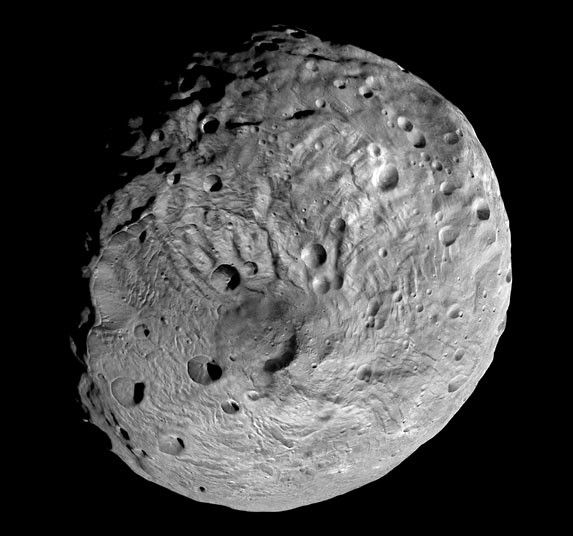 This image taken by the NASA Dawn spacecraft shows the south pole of the giant asteroid Vesta. After spending a year examining Vesta, Dawn is poised to depart and head to another asteroid, Ceres, where it will arrive in 2015.  Picture: NASA/AP