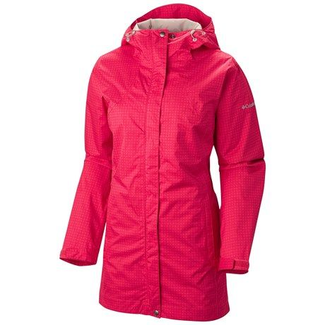 Columbia Sportswear Splash a Little Rain Jacket - Omni-Tech®, Waterproof, Hooded (For Women) in Red Hibiscus/Bright Red Print